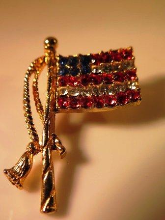 Rhinestone United States of America Flag Pin
