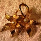 Vintage Brushed Gold Faux Pearl Brooch Pin Floral