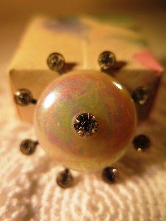 Vintage Iridescent Rhinestone Brooch Pin