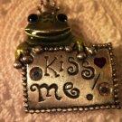 Kiss Me Frog Pin Pewter Tone