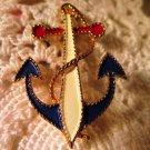 Vintage JJ Nautical Anchor Enameled Pin