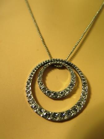 Monet Double Circle Rhinestone Necklace