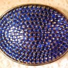 Silver Tone Belt Buckle with Blue Rhinestones