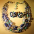 Vintage Blue Variegated Bead Necklace Earring Set Japan