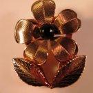 Vintage Gold Filled Onyx Figural Floral Brooch