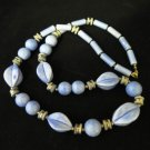 Vintage Chunky Blue Beaded Necklace Japan