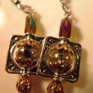 Gold Silver Multi Facet Earrings Handcrafted
