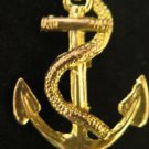 Vintage Gold Tone Anchor Rope Nautical Pin Brooch