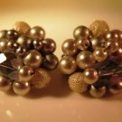 Vintage Light Gray Pearl Cluster Earrings Clip On Japan