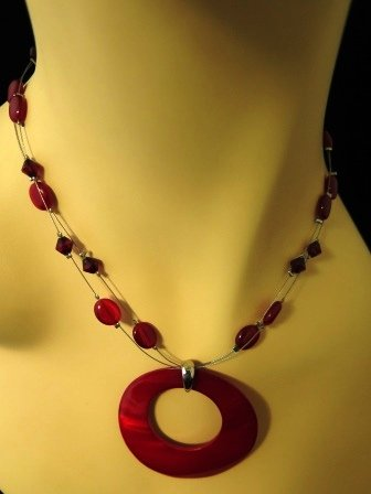 Modern Red Necklace Circle Pendant