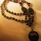 Agates and Glass Necklace Handcrafted NWOT