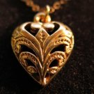 Victorian 14KT Gold Tone Heart Necklace