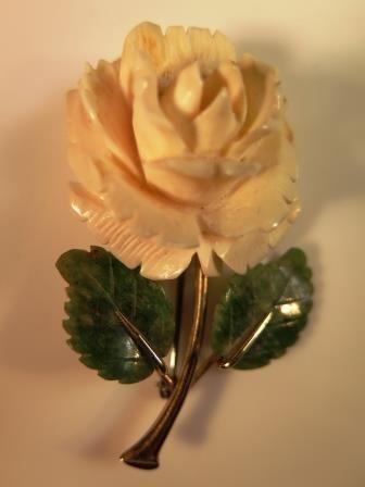 Vintage Carved Celluloid Plastic Rose Pin