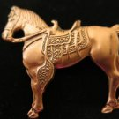 Vintage Copper Horse Brooch Pin
