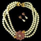 Vintage Napier Resin Pink Flower Pearl Necklace Earrings Demiparure