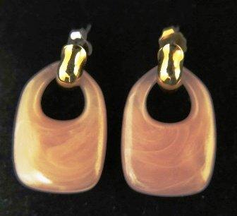 Pale Pink Drop Earrings Gold Tone Pierced