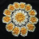Orange Blossom Crochet Doily Handcrafted New