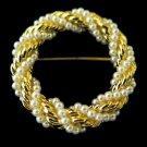 Vintage Seed Pearl Gold Twist Rope Brooch Pin