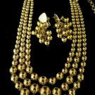 Vintage Gold Bead Three Strand Necklace Earrings Screw Back
