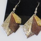 Tri Color Gold Silver Copper Pierced Earrings