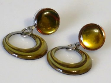Honeysuckle Dangle Hoop Earrings 1980