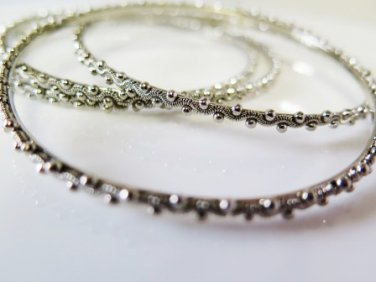 Lane Bryant Silver Bangles Set of 4 Scalloped