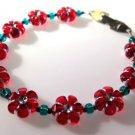 Red Flower Bracelet Handcrafted