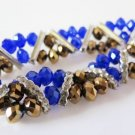 Stretch Gold and Blue Bangle Bracelet