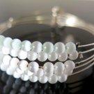 White Beaded Bangle Bracelet