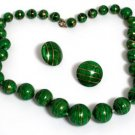 Vintage Green Graduated Beads Necklace Earrings Set