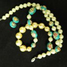 Vintage Floral Bead Pearl Necklace Earrings Pierced