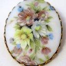 Corocraft Oval Porcelain Floral Brooch