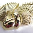 BSK Fan Gold Tone Brooch Pin