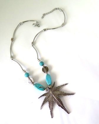Silver Hemp Leaf & Turquoise Necklace