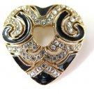 Black Enamel and Rhinestone Heart Brooch Pin