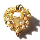 Gold Tone Faux Pearl Woven Brooch Pin