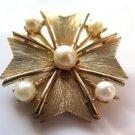 Lisner Gold Tone Faux Pearl Brooch Pin