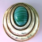 Sarah Coventry Green Art Glass Brooch Pendant