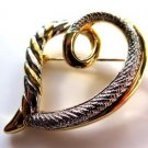 Silver on Gold Tone Heart Pin Brooch
