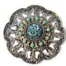 Silver Tone Faux Turquoise Brooch