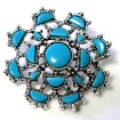 Faux Turquoise Tribal Jewelry Mandala Brooch