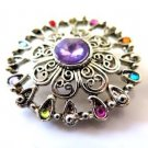 Vintage Silver Tone Lilac Center Brooch