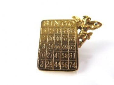 Bingo Angel Gold Tone Lapel Pin