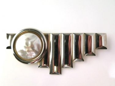 Art Deco Faux Pearl Brooch Pin