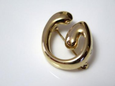 Letter G Initial Pin Brooch Gold Tone
