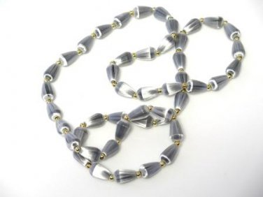 Vintage Beaded Necklace Silvery Gray