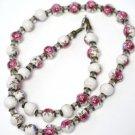 Ceramic Rose Bead Necklace