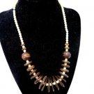 Vintage Wood Disc Bead Necklace