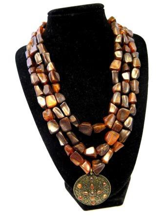 Caramel Bronze Three Strand Necklace