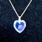 1980 Austrian Crystal Heart Necklace Initial R